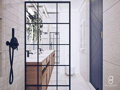 Industrial bathroom / gray bathroom / blue door Bathroom Gray, Grey Bathrooms, Industrial Bathroom, Anna, Doors, Blue, Furniture, Home Decor, Decoration Home