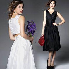 優雅女伶訂製款腰鏤空V領洋裝#fashion#style#vneck#dress
