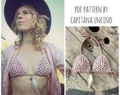 PDF-file for Crochet PATTERN, Angela Crochet Bikini Top Sizes XS-L, Crochet charts for each size!