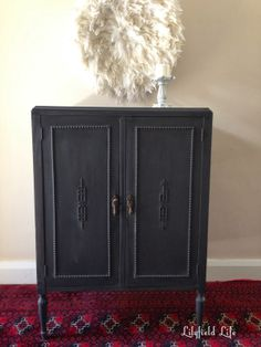 A beautiful storage cabinet given an amazing refinishing job with Graphite Chalk Paint® decorative paint by Annie Sloan | By Lilyfield Life
