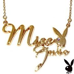 Playboy Necklace MISS JUNE Bunny Logo Pendant Gold Plated Playmate of the Month by Playboy Jewelry at Karen's Treasures on Opensky