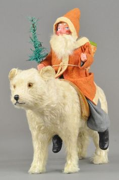 Lot # : 2216 - SANTA RIDING POLAR BEAR CANDY CONTAINER $3835.00.  2013yr