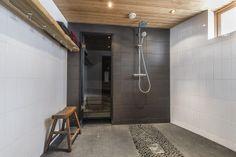 Paras sauman sävy laattalattioissa? Bathroom Toilets, Washroom, Spa Rooms, Modern Bathroom Design, Bathtub, Cool Stuff, Saunas, Home Decor, Bathroom Ideas