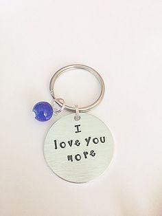 Hand Stamped Keyring  I Love You More Keyring  I Love by EmmaFleet