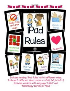 """iPad / Tablet Rules"" for K-2. Put heading ""iFollow rules"" instead of iPad rules"