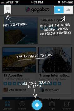 Gogobot iPhone coach marks screenshot