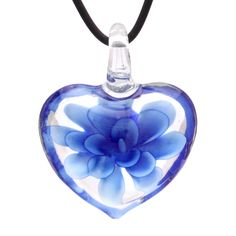Bleek2Sheek Murano-inspired Glass Royal Blue Heart Flower Pendant Necklace