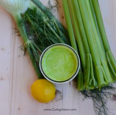 Curing Vision Celery Fennel Green Juice: Digestion feeling sluggish? This juice is made with ingredients that support better digestion. Quick to make celery juice for good daily health and can be used as a juice fast recipe. #celeryjuice #medicalmedium #greenjuice #alkalinediet #juicecleanse #juicefast #juice #freshjuice #digestion #digestivehealth Alkaline Diet Recipes, Vegan Recipes, Vegan Ideas, Juice Smoothie, Smoothie Recipes, Juice Fast Recipes, Green Drink Recipes, Celery Juice, Winter Drinks
