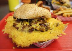 "The ""cheese skirt"" from Squeeze Inn Hamburgers (Napa, CA)"