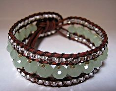 Beaded Leather Bracelet cuff Opaque Light by CristinaDavisJewelry, $35.00