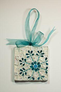 Snowflake Mosaic Wall Hanging or Christmas Ornament - OOAK. $65.00, via Etsy.