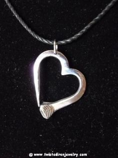 heart horseshoe nail necklace jewelry welded polished and coated with clearcoat to prevent rust.