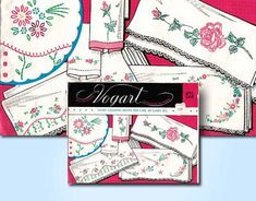 Vintage 1950s Vogart #275 ORIGINAL Embroidery Transfers Smart Colorful Motifs for 3 Pairs of Cases, Etc. This is a wonderful vintage hot iron transfer from the Vogart Company in 1950s. This transfer comes with several different designs for pillowcase ends. This transfer has classic small floral motifs to make three pairs of pillowcases. This is perfect for bedroom linens but easily adapted to guest towels and bathroom linens. This transfer is factory folded and unused. It is uncut and comes…