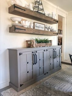 Are you looking for images for farmhouse living room? Check this out for perfect farmhouse living room images. This specific farmhouse living room ideas will look entirely fantastic. Farmhouse Cabinets, Farmhouse Remodel, Farmhouse Renovation, Farmhouse Shelving, Kitchen Remodel, Diy Cabinets, Kitchen Reno, Diy Kitchen, Kitchen Cabinets