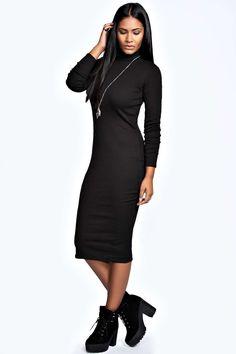 Monica Ribbed Turtle Neck Midi Dress alternative image