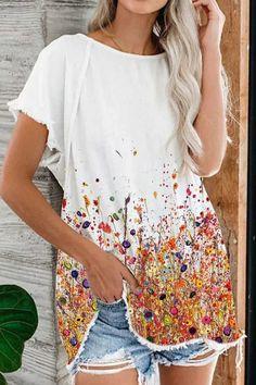 Casual Floral Print Paneled Tassel Trim Short Sleeves T-shirt - Shopingnova