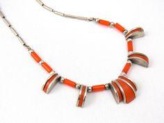 Art Deco Jakob Bengel orange galaith and chrome necklace