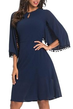 Available Sizes : S;L Bust(cm) : Waist(cm) : Hip(cm) : Length(cm) : Type : Slim Material : Dacron Color : Blue Decoration : Cut Out, Tassel Pattern : Plain Collar : Collarless Length Style : Knee Length Sleeve Length : Three Quarter Length Sleeve Maxi Dress With Sleeves, Chiffon Dress, Cheap Dresses, Dresses For Work, Dress Silhouette, Collar Styles, Look Fashion, Diy Fashion, Dresses Online