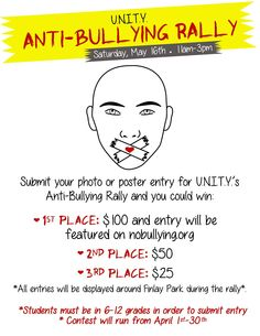 U.N.I.T.Y Anti-Bullying Rally May 16  Poster Contest