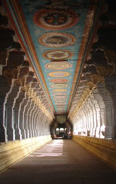 Hallway Detail at the Rameshwaram Temple, India