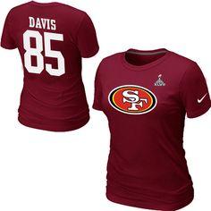 Nike San Francisco 49ers 85 Vernon Davis Name & Number Super Bowl XLVII Women's TShirt Red