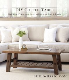 Learn how to build a DIY coffee table? Check our 50 free DIY coffee table plans to build a coffee table for your living room, farmhouse, indoor & outdoor. Diy Coffee Table Plans, Rustic Coffee Tables, Coffee Table Design, Simple Coffee Table, Woodworking Furniture Plans, Diy Furniture, Woodworking Projects, Simple Furniture, Inexpensive Furniture