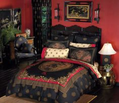 Bedspreads King Size  on Black Red Oriental Asian Dragon 8p King Size Comforter Sheet Bed In A