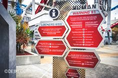 Universal Studios Singapore - Park Update May 2015 - Battlestar Galactica dueling roller coaster / HUMAN ride safety information board