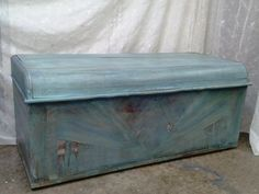 Antique Chest / Cedar Chest / Shabby Chic Chest / Aqua Blue Chest / Cottage Chic…