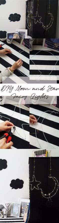 DIY MOON AND STAR FAIRY LIGHTS      #FAIRYLIGHTS, #diyfairylights, #diymoonandstar, #diymoonandstar, #fairylights, #DIYlights, #decorations, #kidsrooms, #inspiration, #Ramadan, #ramadandecorations