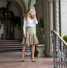 b neck scarf neckerchief class white button down flare midi skirt sjp collection carrie pumps fashion work wear style blog