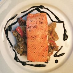 Sockeye Salmon Over Mushrooms, Roasted Peppers And Pesto Cream Gnocchi/ Tonjastable.com