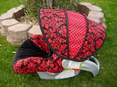 Dandy Damask Noir with Black Infant Car Seat Cover- sewcuteinaz