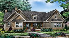 NEW plan now available - The Ferris Plan 1405. The spacious kitchen has a central island and is open to the dining room and the great room. A large pantry and utility room offer plenty of storage. http://www.dongardner.com/plan_details.aspx?pid=4661. #Small #Craftsman #Ranch