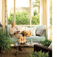 Porch ideas- love the Window treatments and big swing