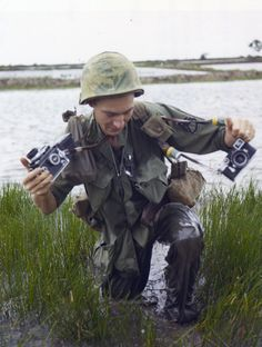 SSG Howard G. Breedlove, Combat Photographer, DASPO, Wades Through Knee Deep Water in Rice Paddies During an Infantry Sweep Through the Rice Paddies off the Main Highway Leading to Cu Chi from Saigon, . Vietnam War Photos, North Vietnam, Vietnam Veterans, Saigon Vietnam, Vietnam History, War Photography, Photography Office, Still Picture, American War