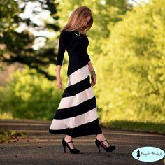 Black And White Strap Dress from Keep It Modest