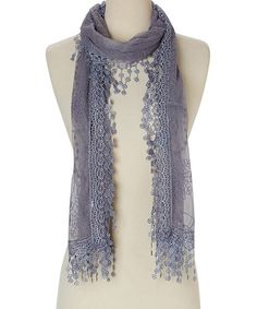 Loving this Gray Embroidered Lace Scarf on #zulily! #zulilyfinds