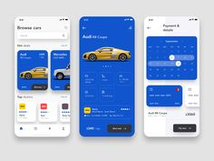 Car rental app by Sava Simeunovic on Dribbble Mobile App Design, Mobile Ui, Ux Design, Flat Design, Icon Design, Audi R8, Car App, App Design Inspiration, Branding