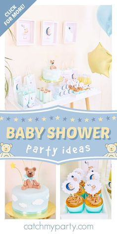 Check out this adorable teddy bear baby shower! The cake is so cute! ee more party ideas and share yours at CatchMyParty.com #catchmyparty #partyideas #teddybears #teddybearparty #babyshower #boybabyshower