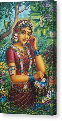 Durga - Hindu deity also called Divine Mother, said to provide protection from… Radha Krishna Images, Krishna Art, Hare Krishna, Painting Digital, Indian Art Paintings, Indian Artwork, Abstract Paintings, Oil Paintings, Radha Rani