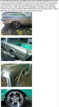 "67-72 chevy c10 truck ☆°~°☆ on 22""rims rear frt 20"