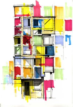 KH Love the graphic, bold colors on the monochrome sketch Architecture Drawings, Architecture Design, Architecture Artists, Classical Architecture, Architect Drawing, Abstract Drawings, Sketch Painting, Urban Sketching, Painting Inspiration