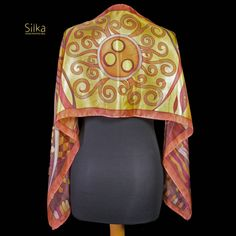 Brown - yellow hand painted silk scarf, on of a kind scarf, silk scarf, silk shawl, gift for her.