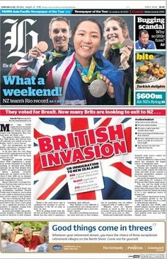 The New Zealand Herald's front page, leading on its story about a 'British…