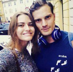 Jamie Dornan and fan in Prague