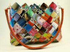 recycled fashion magazines handbag - eco friendly hand woven paper purse #bag #fashion #recycled