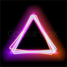 Stock image of 'Neon triangle. Neon red light. electric frame. Vintage frame…