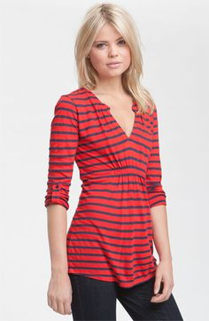 Ella Moss Ruched Notch Neck Stripe Tunic