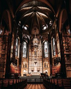 A breathtaking image from the Saint Patrick's Basilica in Montreal. It is a Gothic revival style Roman Catholic minor basilica located in downtown. A must see when visiting Montreal. St Patrick's Basilica, Roman Catholic, Canada Travel, Montreal, Gothic, Saints, Image, Style, Swag